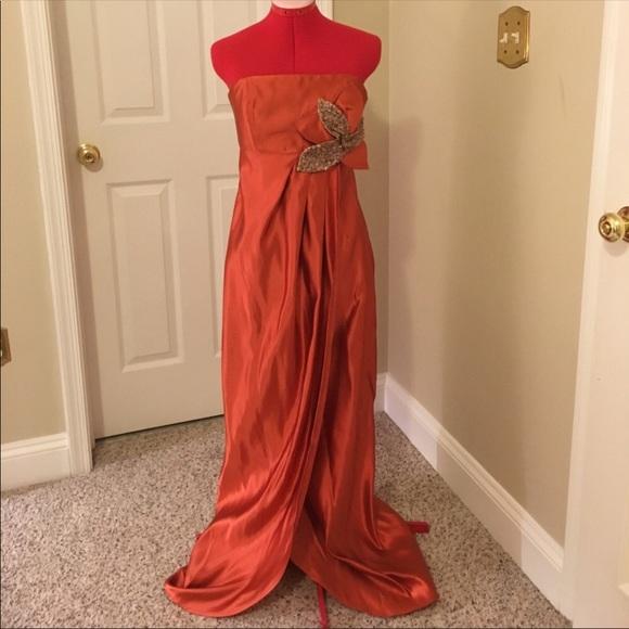 Jayson Brunsdon Dresses | Jayson Brusndon Orange Silk Evening Gown 8 ...